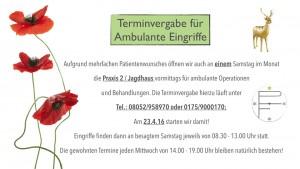 Jetzt auch an einen Samstag im Monat für ambulante Operationen geöffnet.